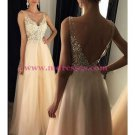 A-Line V-Neck Lace Tulle Long Prom Dresses Party Evening Gowns 281