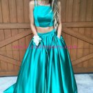 A-Line Two Pieces Green Prom Dresses Party Evening Gowns 295