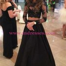 Two Pieces Long Sleeves Black Lace Prom Dresses Party Evening Gowns 296
