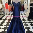 Mermaid Off-the-Shoulder V-Neck Long Blue Prom Dresses Party Evening Gowns 304