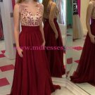 A-Line Illusion Neckline Burgundy Lace and Chiffon Prom Dresses Party Evening Gowns 308