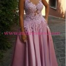 A-Line Illusion Neckline Lace and Satin Long Prom Dresses Party Evening Gowns 310