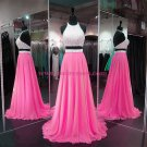Long Pink Two Pieces Beaded Sequins Chiffon Prom Dresses Party Evening Gowns 311