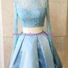 Two Pieces Long Sleeves Lace Satin Short Prom Dresses Party Evening Gowns 316