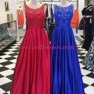 A-Line Lace and Satin Long Prom Dresses Party Evening Gowns 318