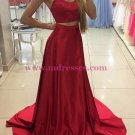 Two Pieces Long Red Prom Dresses Party Evening Gowns 321