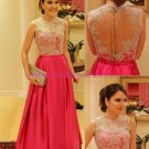 A-Line Jewel Neckline Prom Dresses Party Evening Gowns 330