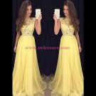 Long Yellow Illusion Bodice Lace and Chiffon Prom Dresses Party Evening Gowns 335
