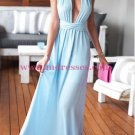 Sexy Long Blue Prom Dresses Party Evening Gowns 344