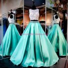 A-Line Two Pieces Keyhole Back Beaded Lace Satin Prom Dresses Party Evening Gowns 345