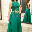 Long Green Two Pieces Lace Prom Dresses Party Evening Gowns 347