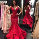 Sexy Mermaid Long Red Prom Dresses Party Evening Gowns 351