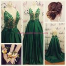 Long Green Spaghetti Straps Lace Satin Prom Dresses Party Evening Gowns 355