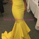 Mermaid Long Yellow Off-the-Shoulder Prom Dresses Party Evening Gowns 360