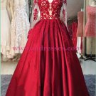 Long Red Long Sleeves Lace Satin Off-the-Shoulder Prom Dresses Party Evening Gowns 362
