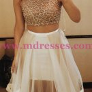 Two Pieces Beaded Sequins Prom Dresses Party Evening Gowns 364