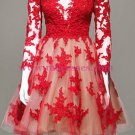 Long Sleeves Lace Red Short Homecoming Cocktail Prom Dresses 366