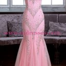 Long Pink Beaded Mermaid Lace Tulle Prom Dresses Party Evening Gowns 370
