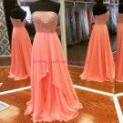 A-Line Strapless Beaded Chiffon Long Prom Dresses Party Evening Gowns 374