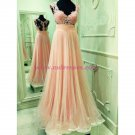 Lace and Tulle Illusion Bodice Long Prom Dresses Party Evening Gowns 376