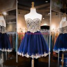 Short Blue Sweetheart Gold Lace Appliques Homecoming Cocktail Prom Dresses 379