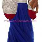 A-Line Long Blue Beaded Sequins Tulle Prom Dresses Party Evening Gowns 381