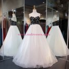 Long Black White Lace Prom Dresses Party Evening Gowns 388