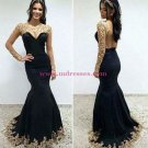 Long Black Mermaid Gold Lace Appliques Long Sleeves Prom Dresses Party Evening Gowns 405