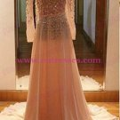A-Line Long Sleeves Beaded Backless Prom Dresses Party Evening Gowns 411