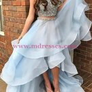 Two Pieces High Low Beaded Prom Dresses Party Evening Gowns 413