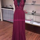 Burgundy Halter V-Neck Lace Prom Dresses Party Evening Gowns 415
