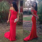 Long Red Mermaid Off-the-Shoulder Prom Dresses Party Evening Gowns 418