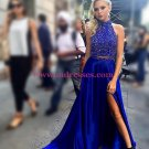 Sexy Beaded Blue Long Prom Dresses Party Evening Gowns with Slit 432