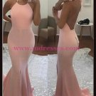 Mermaid Halter Long Pink Prom Dresses Party Evening Gowns 434