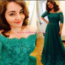 Long Green Lace Off-the-Shoulder Prom Dresses Party Evening Gowns 438