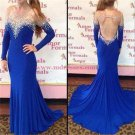 Long Blue Mermaid Beaded Illusion Neckline Prom Dresses Party Evening Gowns 439