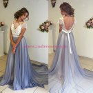 Lace Chiffon Cap Sleeves Long Prom Dresses Party Evening Gowns 440