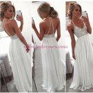 Long White Spaghetti Straps Chiffon Prom Dresses Party Evening Gowns 443