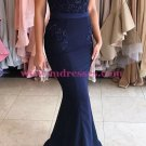 Long Blue Beaded Lace Mermaid Prom Dresses Party Evening Gowns 445