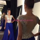 Long Blue Beaded Prom Dresses Party Evening Gowns 446