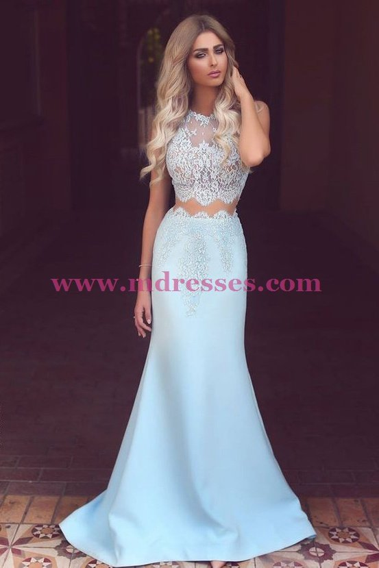 Mermaid Lace Two Pieces Prom Dresses Party Evening Gowns 447