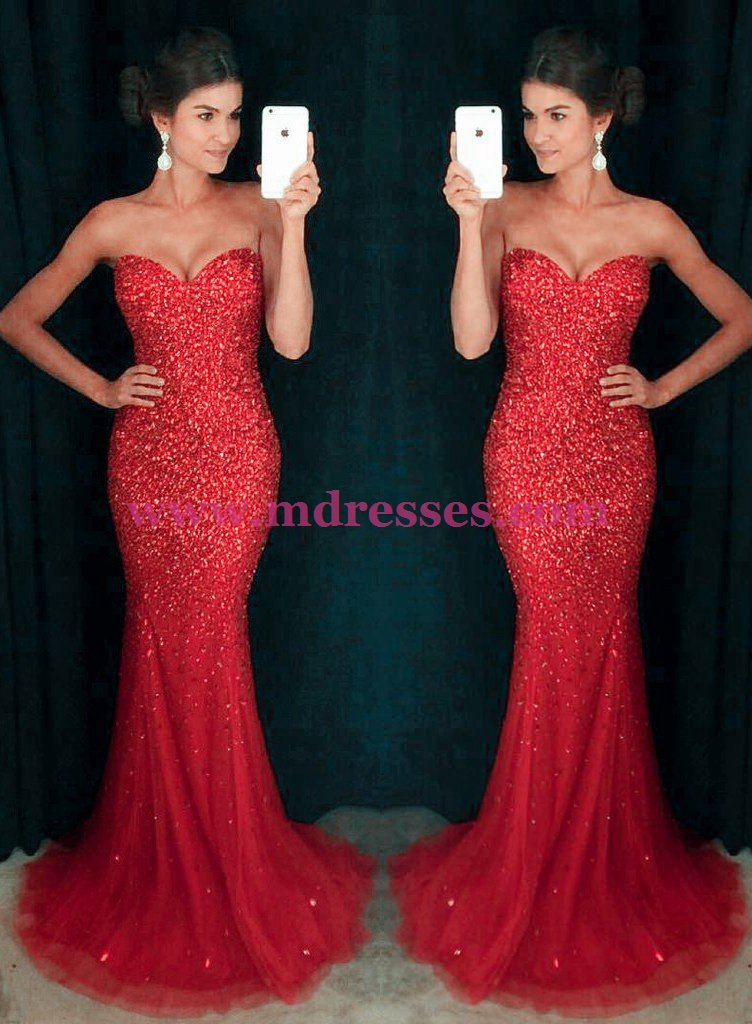 Mermaid Long Red Sparkly Prom Dresses Party Evening Gowns 449