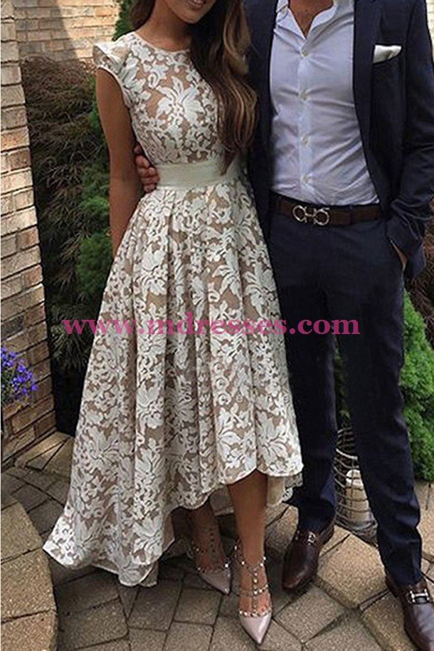 High Low Lace Prom Dresses Party Evening Gowns 451