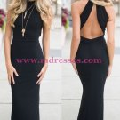 Long Black Mermaid Prom Dresses Party Evening Gowns 454