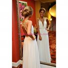 Long White Gold Lace Appliques Prom Dresses Party Evening Gowns 460