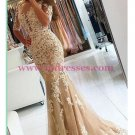 Mermaid Short Sleeves Lace Appliques Long Prom Dresses Party Evening Gowns 462