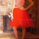Beaded Tulle Two Pieces Short Homecoming Cocktail Prom Dresses 466