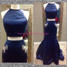 Mermaid Two Pieces Long Blue Prom Dresses Party Evening Gowns 467