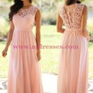 Long Pink Lace Chiffon Prom Dresses Party Evening Gowns 470