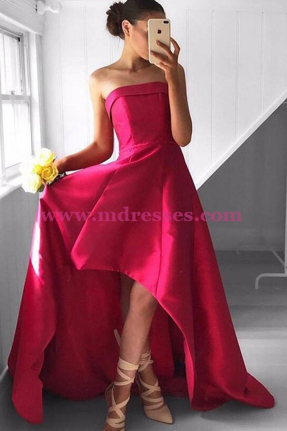 High Low Strapless Prom Dresses Party Evening Gowns 471